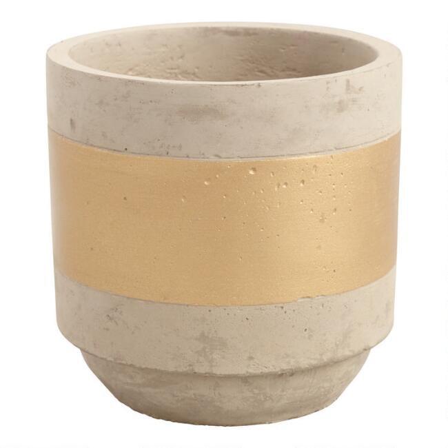 Gold Stripe Cement Planter
