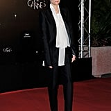 Tilda Swinton wore a feminine tux look to the opening night dinner at the Cannes Film Festival.