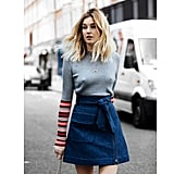 A Denim A-Line Skirt and Fitted Sweater or Top