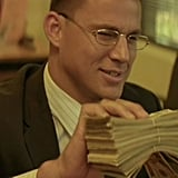 Channing Tatum deposits a stack of cash at the bank.