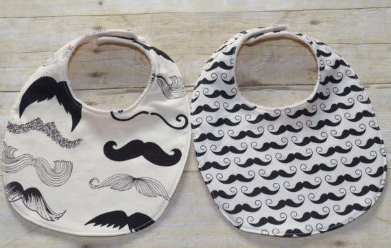 """Set of Two """"Where's My Stache?"""" Bibs"""