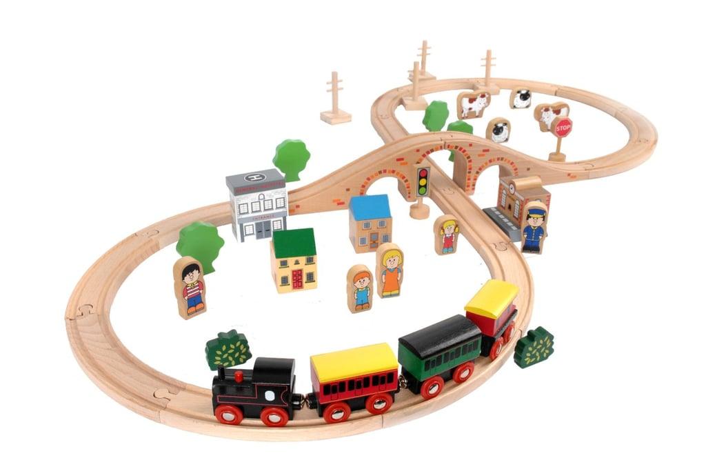 Tidlo Timeless Toys 50 Piece Wooden Train Set