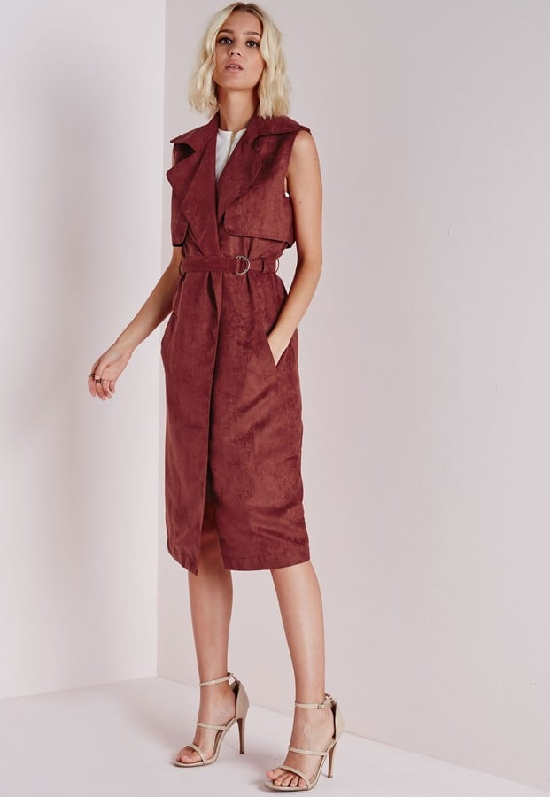 Missguided Sleeveless Belted Trench Jacket