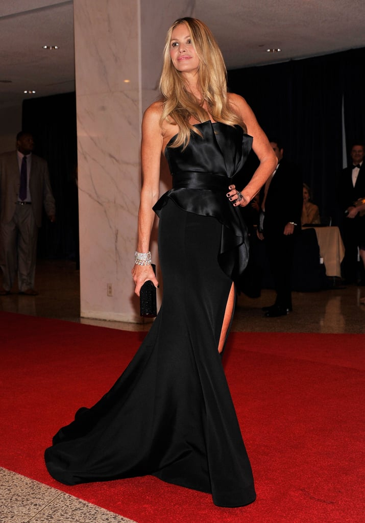 Elle Mcpherson graced the red carpet in a long black gown.