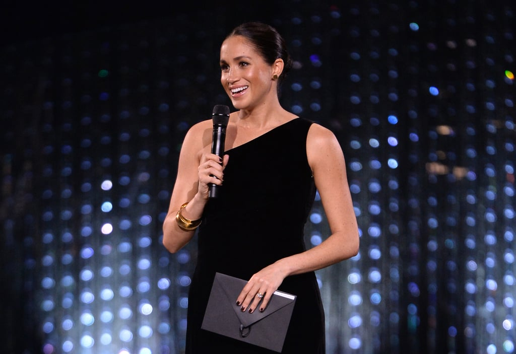 Meghan Markle is not afraid to push the envelope a little bit, especially when it comes to royal protocol. On occasion, the Duchess of Sussex will veer away from tradition, like when she wears a messy bun sans hairnet or shows PDA with Prince Harry. She strayed from the alleged royal rules once again on Dec. 10 when she chose a deep nail polish color for her surprise appearance at the 2018 British Fashion Awards.  Normally Markle follows in her sister-in-law Kate Middleton's pedicured footsteps and opts for a neutral or pink shade during official outings. Essie's Ballet Slippers is a royal favorite — Queen Elizabeth II has worn it for 29 years.  For the Fashion Awards, however, Markle went full dark to match her black Givenchy gown. Can you blame her? The shade is striking. Plus, rumor has it the queen doesn't care much for royal protocol these days anyway. Hey, some rules are made to be broken.      Related:                                                                                                           These Are the Best Royal Beauty Moments of 2018 — Yes, Including Prince Harry's
