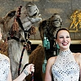 The Rockettes hang out with the camels.