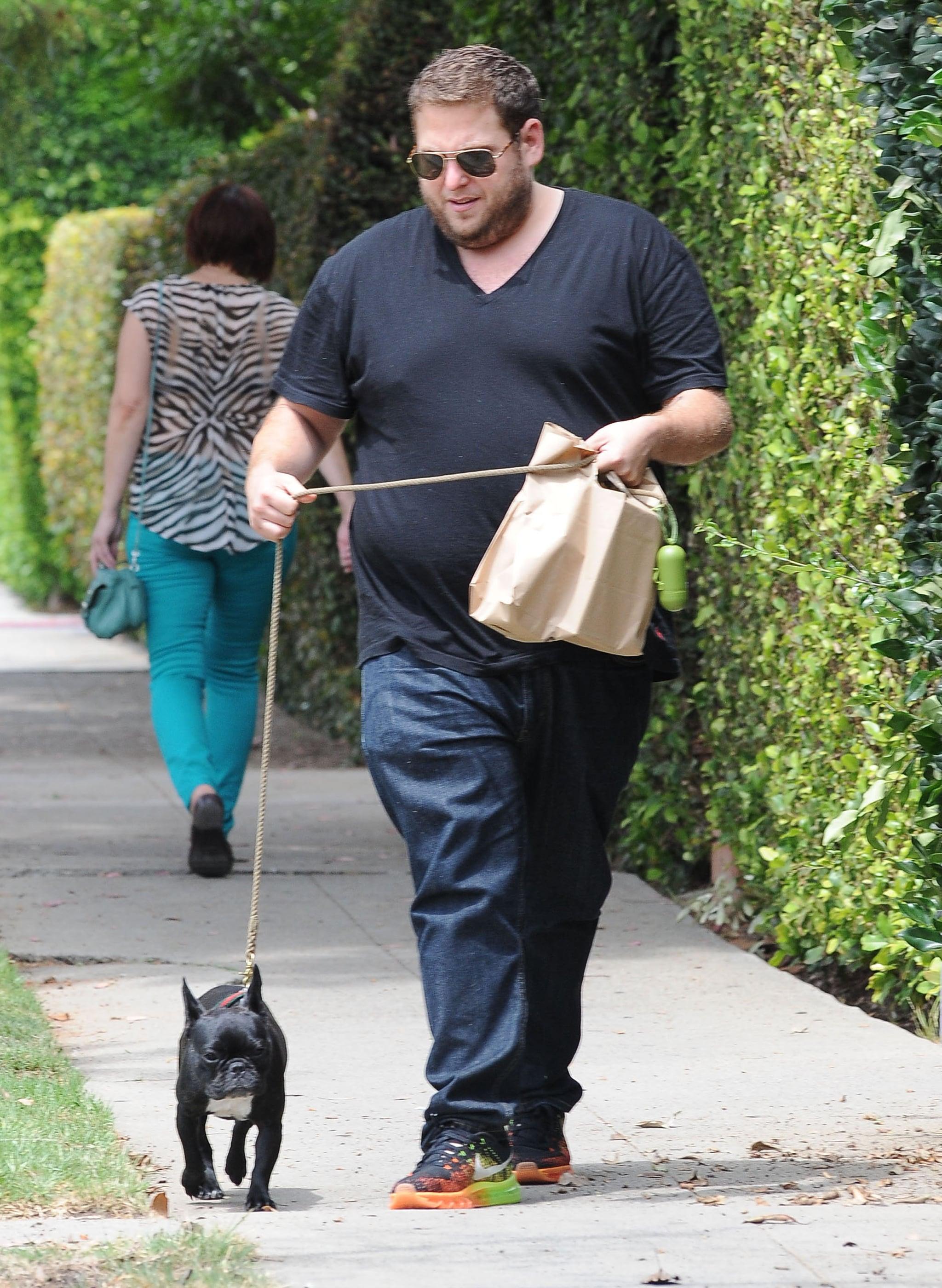 Jonah Hill took his cute dog on a walk in LA on Saturday.