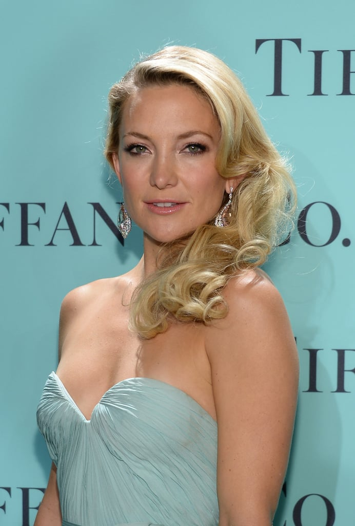 A closer look at Kate Hudson's Tiffany & Co. pear shaped morganite and diamond earrings set in platinum from the 2013 Blue Book Collection ($65,000).