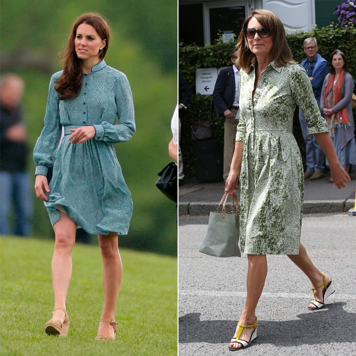 A Green Printed Shirtdress With Espadrilles