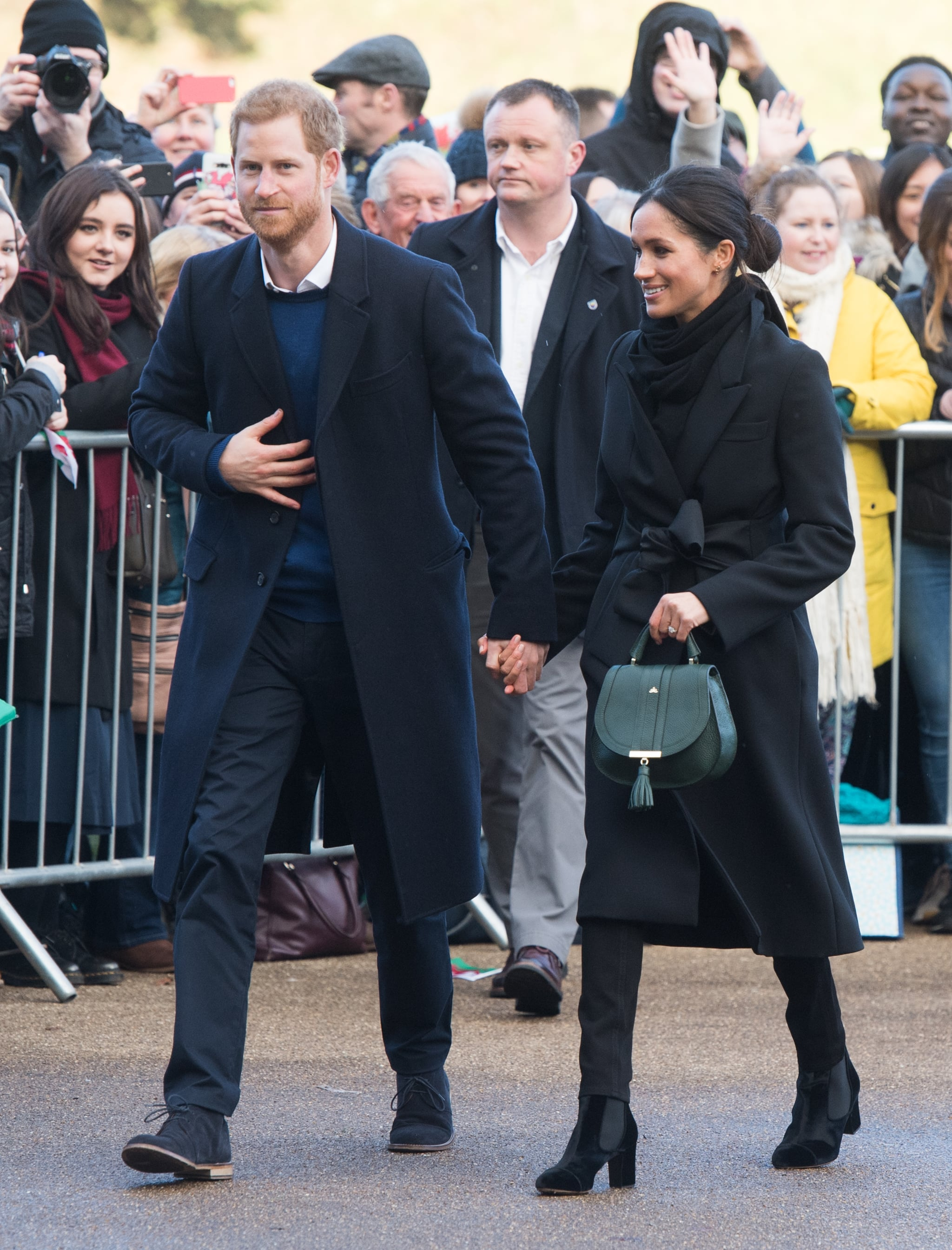 CARDIFF, WALES - JANUARY 18:  Prince Harry and fiance Meghan Markle visit Cardiff Castle on January 18, 2018 in Cardiff, Wales.  (Photo by Samir Hussein/Samir Hussein/WireImage)