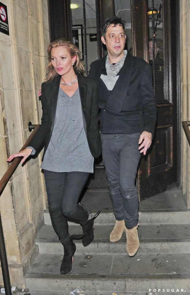 Kate Moss and her husband, Jamie Hince, were arm in arm to catch a concert at Royal Albert Hall in London last night. Kate dressed up her outfit from a shopping trip earlier in the day by replacing her sweater with a blazer for the night on the town. She has been busy keeping up with work engagements in London lately. Last week, Kate attended the launch of Kérastase's latest line after being appointed the new face of the brand. Kérastase isn't the only thing Kate has put her name to lately. She recently teamed up with French chain Sushi Shop to design a Kate Moss-branded sushi box, complete with sequins, which can hold 40 pieces of the Japanese cuisine. The collaboration comes at an appropriate time, as the famous restaurant chain is opening its first location in London next month.