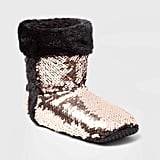 Women's Flip Sequins Booties With Faux Fur Cuff