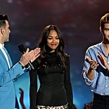 Zachary Quinto, Zoe Saldana, and Chris Pine presented an award together.