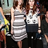 Consider this a Girls day out! We loved Allison Williams's striped A-line dress, especially next to Zosia Mamet's floral top.