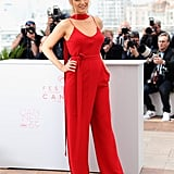 For Blake Lively, it was a red Juan Carlos Obando jumpsuit for her Café Society photocall.