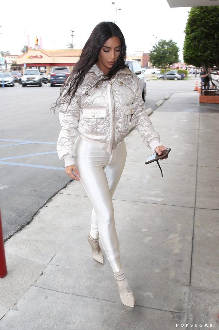 6154843574a0b Kim Kardashian's White Leggings and Chanel Jacket | POPSUGAR Fashion