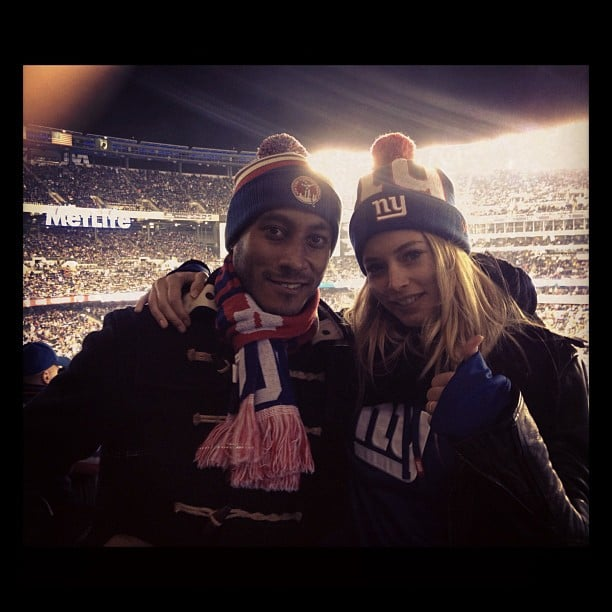 Doutzen Kroes and her husband, Sunnery James, cheered on the New York Giants. Source: Instagram user doutzenkroes1