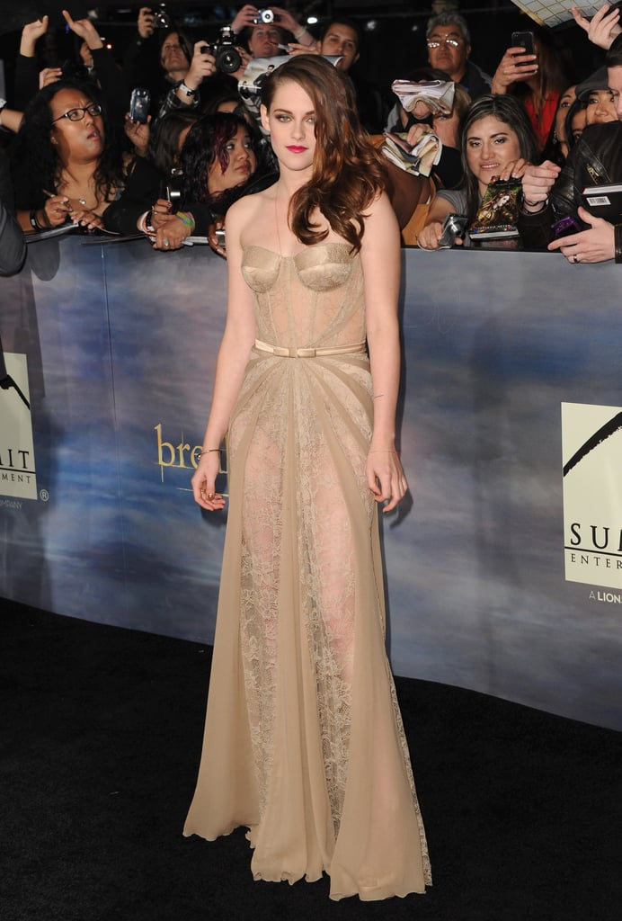 Kristen Stewart hasn't been shy on the skin-revealing front as of late, but this nude gown by Zuhair Murad was the epitome of evocative lace.