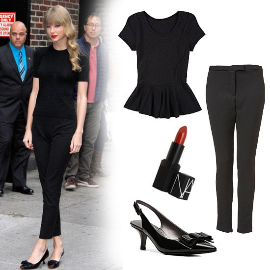 Taylor Swift's black on black is a nod to the classics, with a short-sleeved knit (we like one with peplum for an even sweeter style), skinny black pants, and bow-adorned pumps. Add the perfect pop of red on your lips — and maybe some retro-inspired waves, à la Taylor — for the full effect. Get the look:  Delia's Short-Sleeve Peplum ($20) Topshop Seamed Skinny Trousers ($70) Adrienne Vittadini Peridot Pump ($70) Nars Semi-Matte Lipstick in Jungle Red ($24)