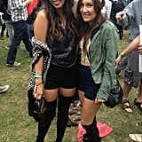 Donning short black shorts and over-the-knee socks, these two friends were clearly on the same festival fashion wavelength.