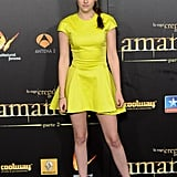 Kristen wore a vibrant neon yellow Christian Dior mini and ankle-strap heels for the Breaking Dawn Part 2 premiere in Madrid this November.
