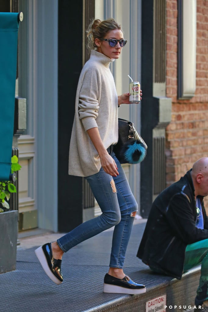 Olivia Palermo Wearing a Turtleneck and Jeans
