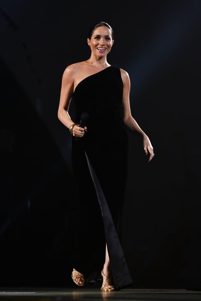 Meghan Markle's Gold Tamara Mellon Heels 2018