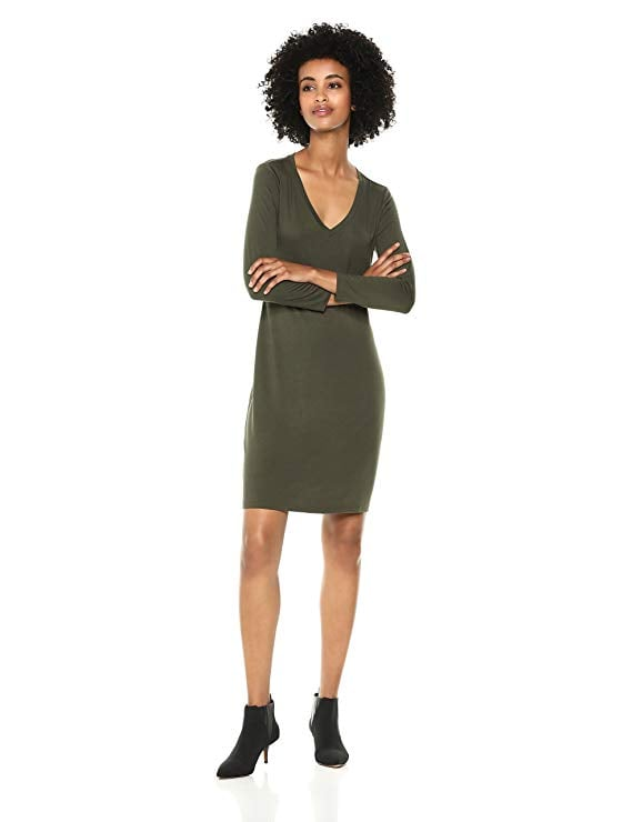 Daily Ritual Women's Jersey 34 Sleeve V Neck T Shirt Dress
