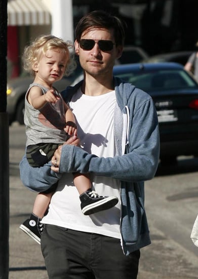 Tobey Maguire And Family Out For Breakfast In Brentwood