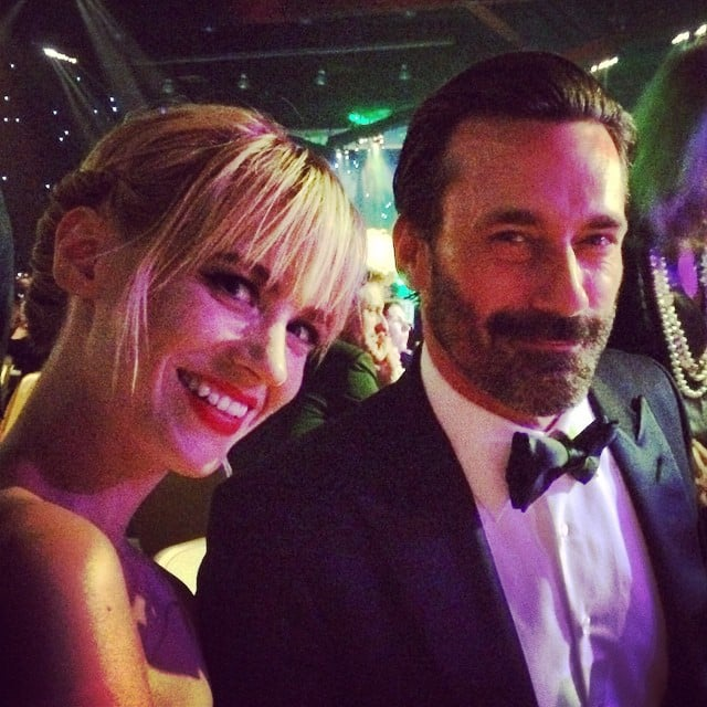 January Jones got some face time with her TV husband (well, ex-husband) Jon Hamm at a party.