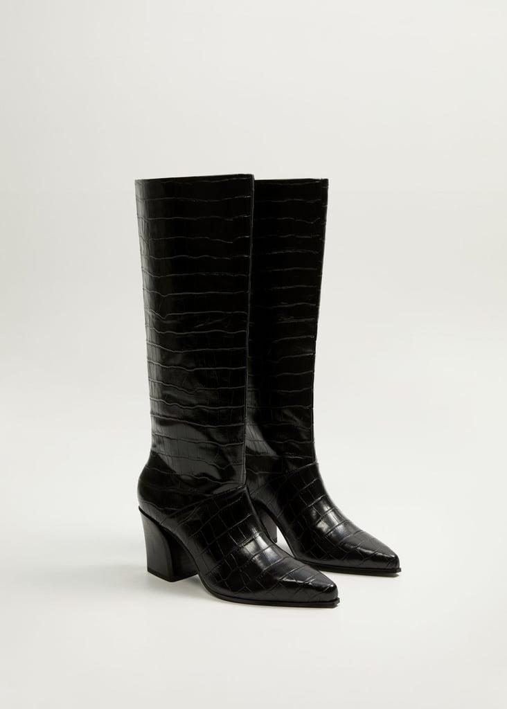 Mango Croc-Effect Boots