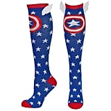 Captain America Shield and Stars Knee High Socks With Wings ($10)