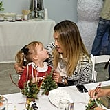 Jessica played with Haven at the Baby2Baby holiday party in December 2014.