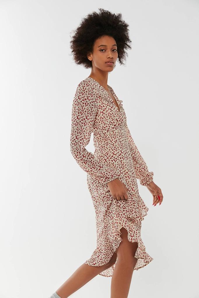 UO Caterina Chiffon Asymmetrical Ruffle Dress