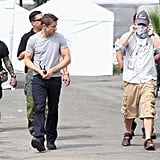 Jeremy Renner on the set of The Bourne Legacy.