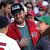 Ben Affleck and Jennifer Garner watched from the stands while his hometown team played the NY Yankees at Fenway Park in October 2005.