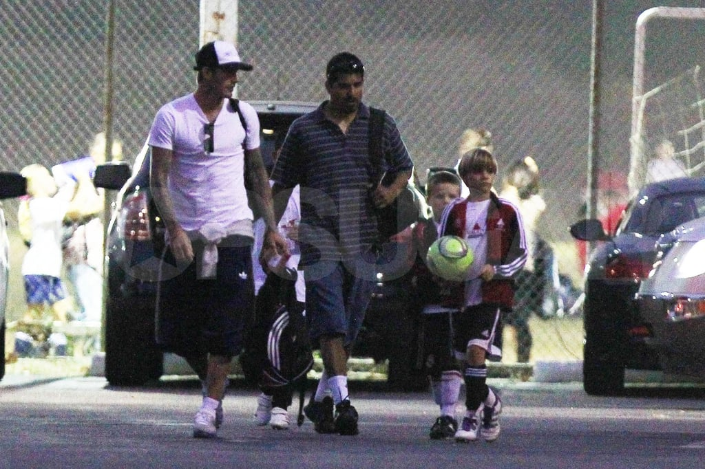 David Beckham, Cruz Beckham, and Romeo Beckham in LA.