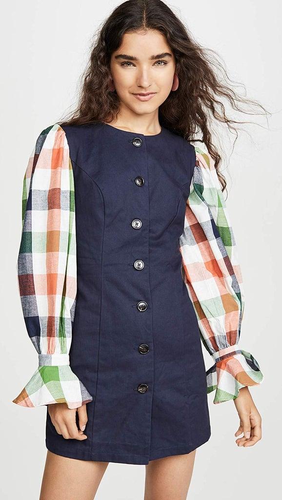 English Factory Gingham Sleeve Combo Dress