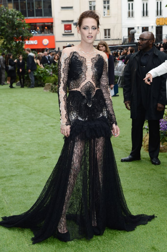 Kristen Stewart wore a lace Marchesa gown to the London premiere of Snow White and the Huntsman.