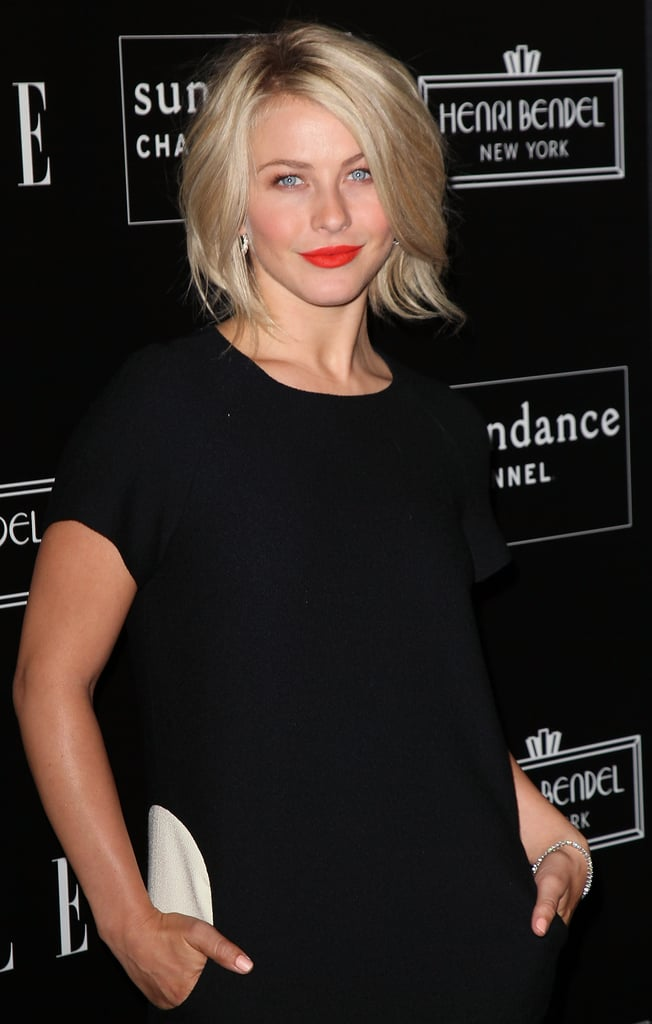 Julianne Hough paired bright lips with an LDB for the party at Soho House.