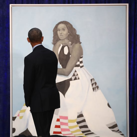 Barack Obama Checking Out Michelle Obama's Portrait