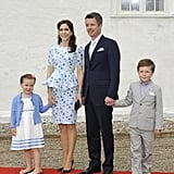 Mary, in a Project D dress co-designed by Dannii Minogue, went to the christening of Prince Joachim and Princess Marie of Denmark's daughter in May 2012 with Isabella, Frederik and Christian.