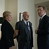Catherine Durant (Jayne Atkinson), Raymond Tusk (Gerald McRaney), and Frank (Spacey) on House of Cards. Source: Netflix