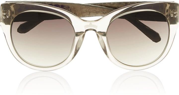 Linda Farrow Cat-Eye Acetate and Watersnake Sunglasses ($645)