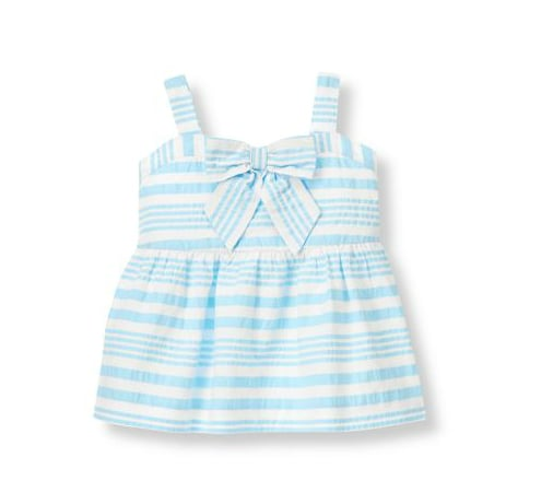 Janie and Jack Seersucker Stripe Bow Top
