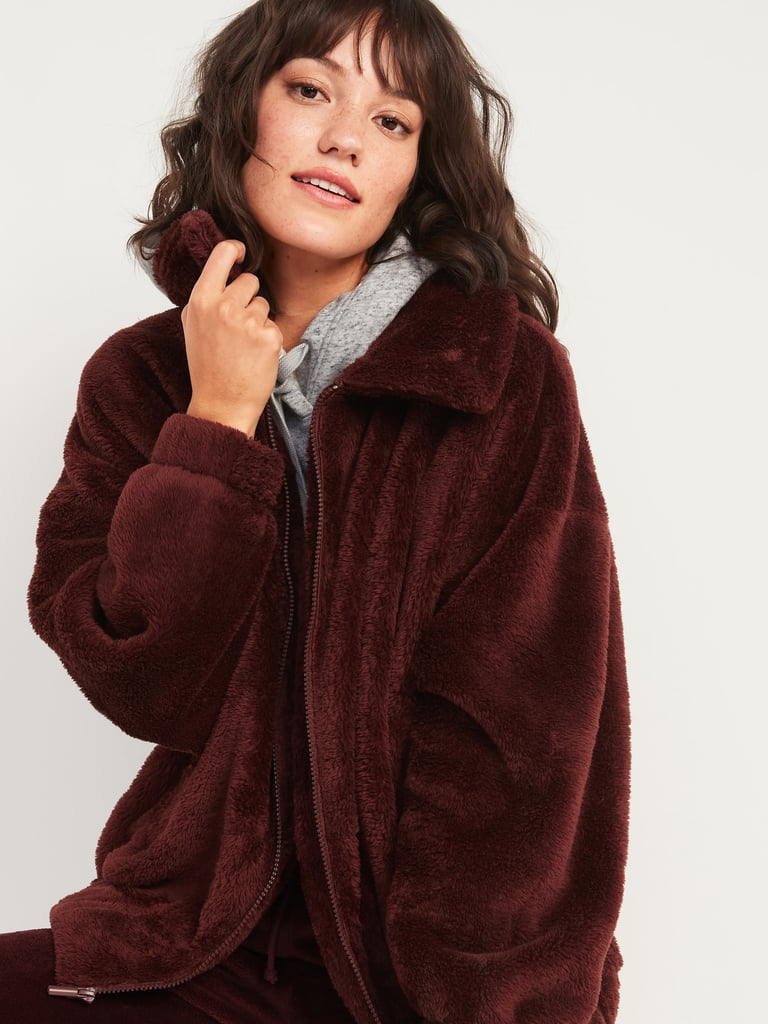 Old Navy Cosy Teddy Sherpa Zip Lounge Jacket