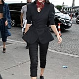 Kendall Wore a Black Peplum Blazer, Cropped Trousers, and a Floral Bandana Tied Around Her Neck