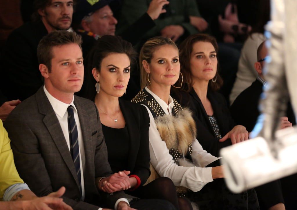 Armie Hammer and Elizabeth Chambers sat next to Heidi Klum and Brooke Shields in the front row at Kenneth Cole's NYC show in February.