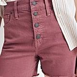 Madewell Button-Front High-Waist Garment Dyed Shorts