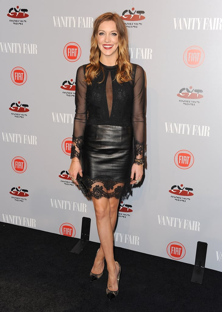 Katie Cassidy wore leather.